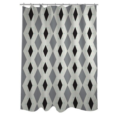 Diamond Dots Geometric Woven Polyester Shower Curtain