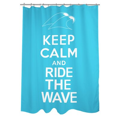Keep Calm and Ride The Wave Woven Polyester Shower Curtain