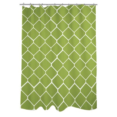 Fence Woven Polyester Shower Curtain Color: Green/Ivory