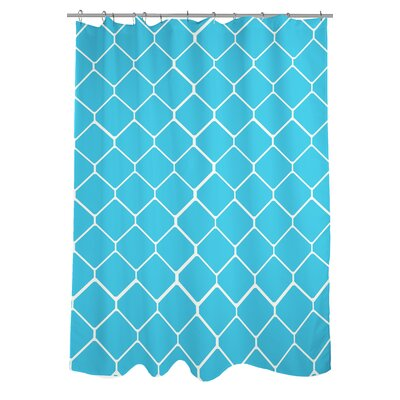 Fence Woven Polyester Shower Curtain Color: Ivory/Light Blue