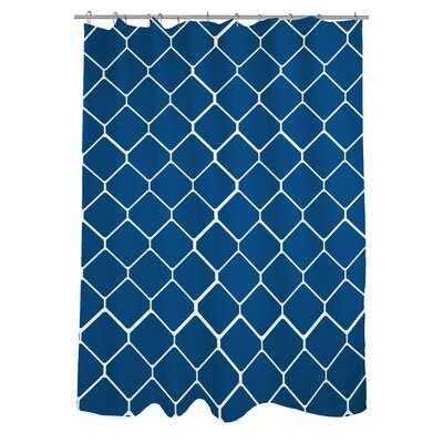 Fence Woven Polyester Shower Curtain Color: Navy/Ivory