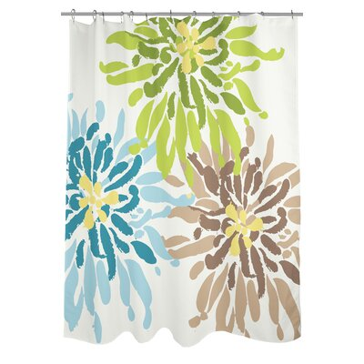 Lowell Floral Woven Polyester Shower Curtain Color: Blue/Green/Brown