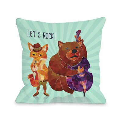 Lets Rock Animal Band Throw Pillow