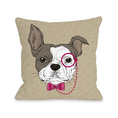 Monocle Dog Throw Pillow