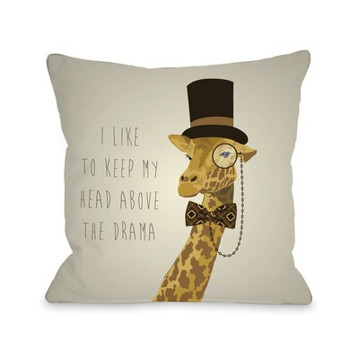 Head Above Hipster Giraffe Throw Pillow