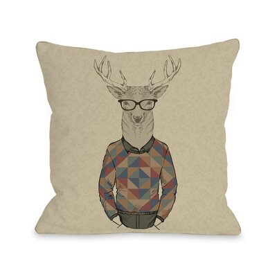 Hipster Deer Sweater Throw Pillow