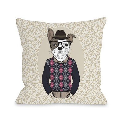 Hipster Dog Sweater Throw Pillow