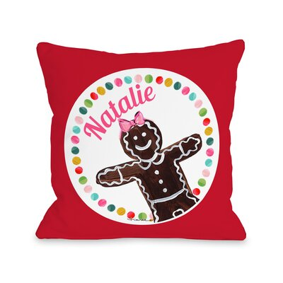 Gingerbread Girl Personalized Throw Pillow