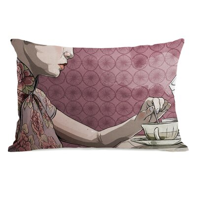 Woman with Tea Lumbar Pillow
