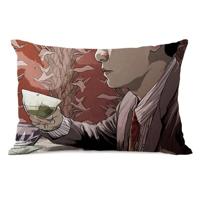 Man with Tea Lumbar Pillow