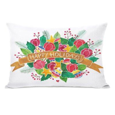 Happy Holidays Bouquet Lumbar Pillow