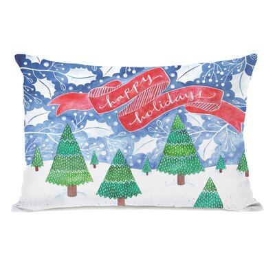Holiday Snow Trees Lumbar Pillow