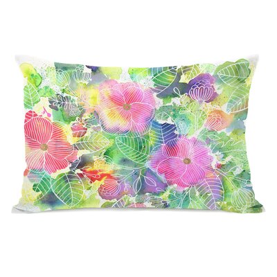 Rainbow Splatter Flower Lumbar Pillow