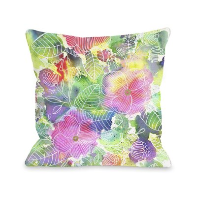 Rainbow Splatter Flower Throw Pillow
