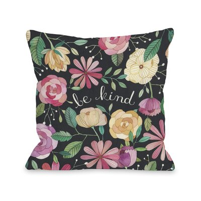 Be Kind Florals Throw Pillow