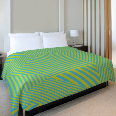Edit Stripe Fleece Duvet Cover Size: Full / Queen, Color: Blue