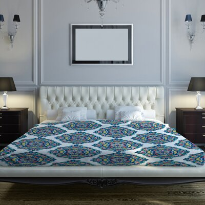 Mandalas Fleece Duvet Cover Size: King, Color: White