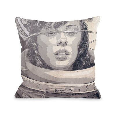 Girl in Spacesuit Throw Pillow Size: 16 H x 16 W x 3 D