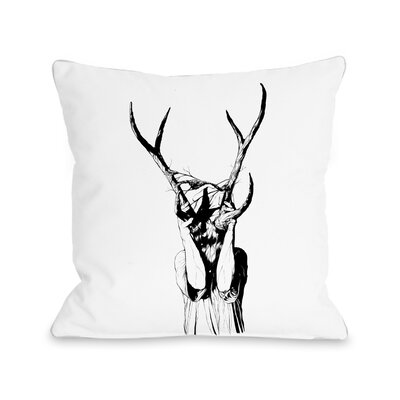 Girl with Antlers Throw Pillow Size: 16 H x 16 W x 3 D
