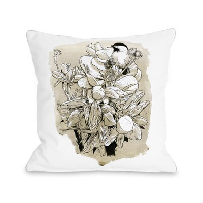 Flowers and Bird Throw Pillow Size: 18