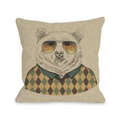 Hipster Bear Throw Pillow Size: 18
