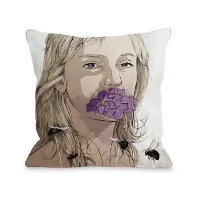 Girl with Flowers Throw Pillow Size: 18 H x 18 W x 3 D