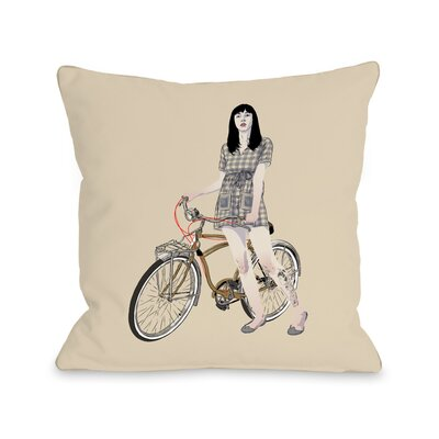 Girl Bicycle Throw Pillow Size: 16 H x 16 W x 3 D