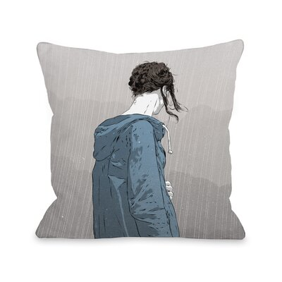 Girl in Rain Throw Pillow Size: 18 H x 18 W x 3 D
