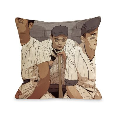 Baseball Players Throw Pillow Size: 16 H x 16 W x 3 D