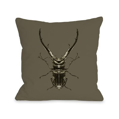 Horned Beetle Throw Pillow Size: 16 H x 16 W x 3 D