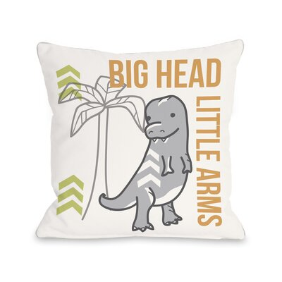 Big Head Little Arms Dino Throw Pillow Size: 16 H x 16 W x 3 D