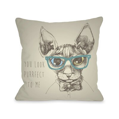 Purrfect To Me Throw Pillow Size: 18 H x 18 W x 3 D