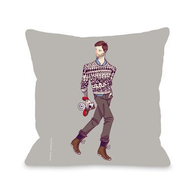 Walk With Camera Throw Pillow Size: 16 H x 16 W x 3 D
