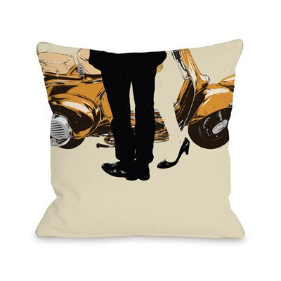 Couple and A Motorycle Throw Pillow Size: 18 H x 18 W x 3 D