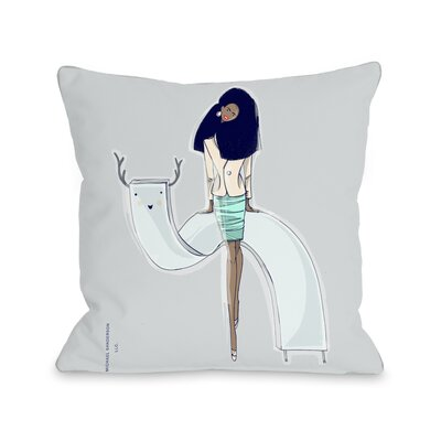 Girl with Creature Throw Pillow Size: 18 H x 18 W x 3 D