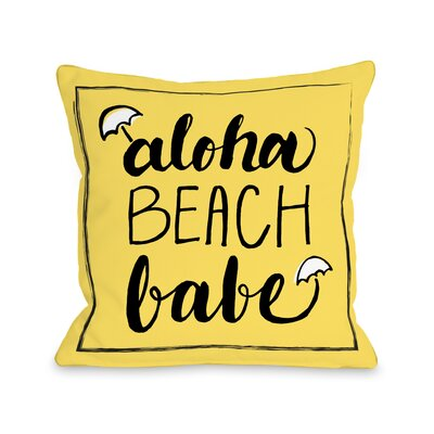Aloha Beach Babe Throw Pillow Size: 16 H x 16 W x 3 D
