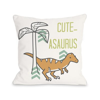 Cuteasaurus Dino Throw Pillow Size: 18 H x 18 W x 3 D