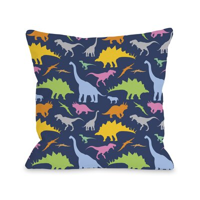 Crazy Dinos Throw Pillow Size: 16 H x 16 W x 3 D