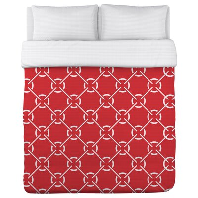 Ceciles Circles Poppy Duvet Cover Size: Full Queen