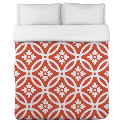 Meredith Circles Tiger Lily Duvet Cover Size: Twin