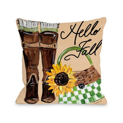 Perrine Boots Hello Fall Throw Pillow Size: 16 x 16
