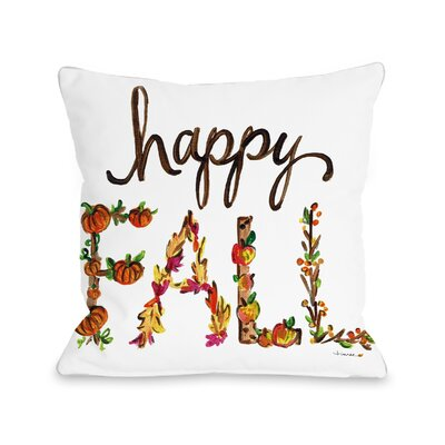 Roncy Happy Fall Flowers Throw Pillow Size: 18 x 18