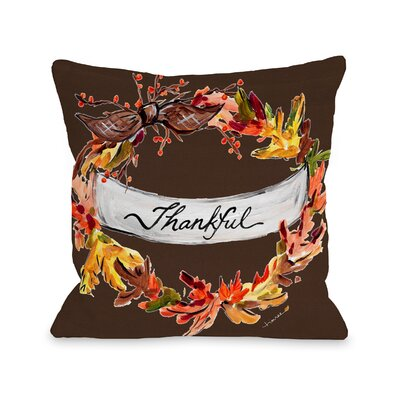Roncy Thankful Throw Pillow Size: 16 x 16