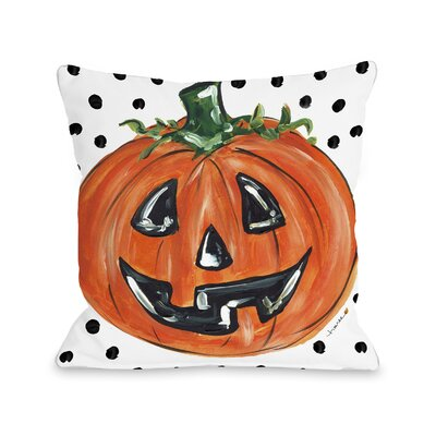 Halloween Pumpkin Dots Throw Pillow Size: 18 x 18