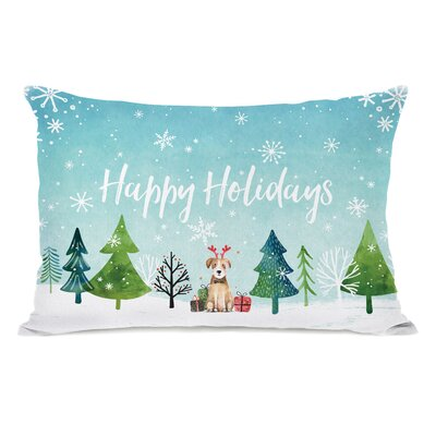 Happy Holidays Watercolor Dog Throw Pillow