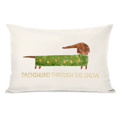 Modica Dachshund Through the Snow Lumbar Pillow
