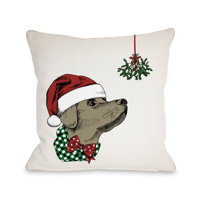 Mistletoe Christmas Dog Throw Pillow Size: 18 x 18