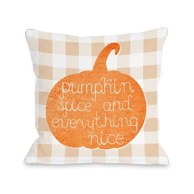 Junien Pumpkin Spice Everything Nice Plaid Throw Pillow Size: 16 x 16