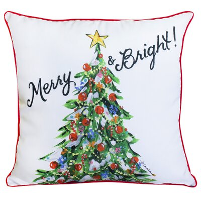 Merry and Bright Christmas Tree Throw Pillow Size: 16 x 16, Color: White