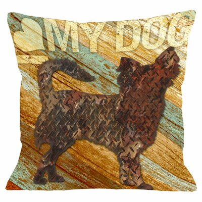 Doggy D�cor I Love My Dog Wood Throw Pillow Size: 16 H x 16 W